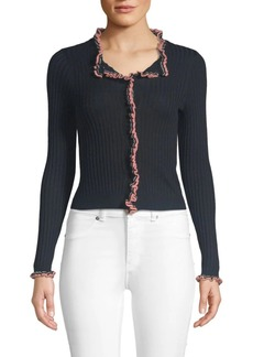Rebecca Taylor Cropped Ruffle Cardigan