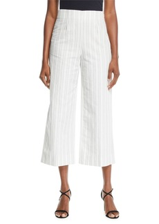 Rebecca Taylor Cropped Striped Cotton/Linen Pants