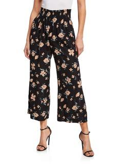 Rebecca Taylor Daniella Floral-Print Smock-Waist Wide-Leg Pants