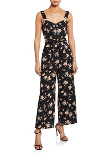Rebecca Taylor Daniella Floral-Print Sweetheart Sleeveless Jumpsuit