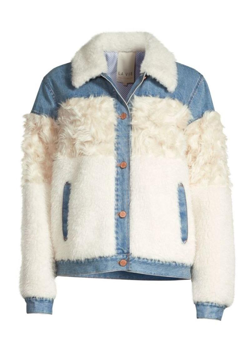 Rebecca Taylor Denim Faux Fur-Trimmed Jacket