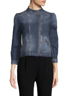 Rebecca Taylor Denim Quarter-Sleeve Moto Jacket