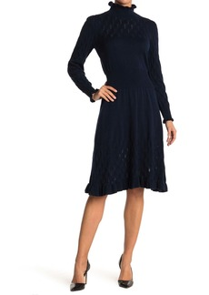 Rebecca Taylor Dia Pointelle Wool Blend Sweater Dress