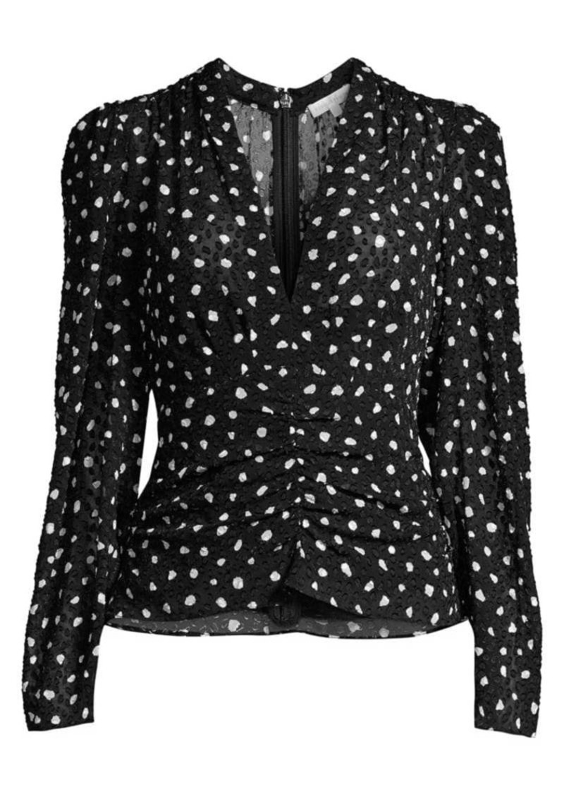Rebecca Taylor Dotted Long-Sleeve V-neck Top