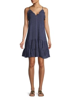 Rebecca Taylor Dot-Print Stretch-Silk Smock Dress