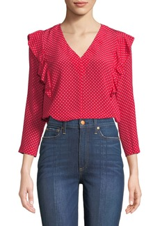 Rebecca Taylor Dot-Print V-Neck Ruffle Top