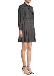 Rebecca Taylor Dot Silk A-Line Shirt Dress
