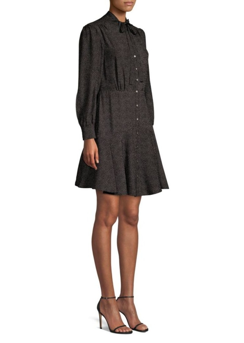 Rebecca Taylor Dot Silk A-Line Shirt Dress