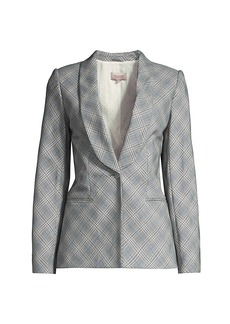 Rebecca Taylor Double-Breasted Plaid Suiting Jacket