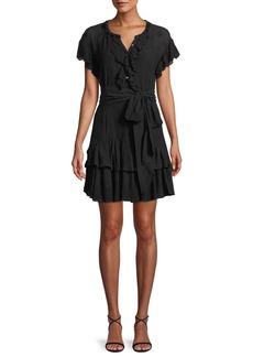 Rebecca Taylor Dree Belted Eyelet Lace Short Dress