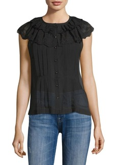 Rebecca Taylor Dree Silk-Blend Eyelet-Trimmed Top