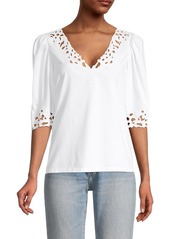 Rebecca Taylor Ella Embroidered Short-Sleeve Top