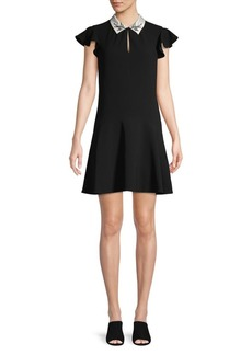 Rebecca Taylor Embroidered Bird Collar Mini Flounce Silk Dress