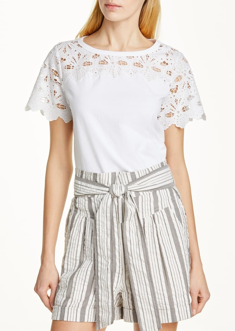 Rebecca Taylor Embroidered Detail Top