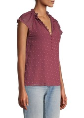 Rebecca Taylor Embroidered Dot Short-Sleeve Blouse