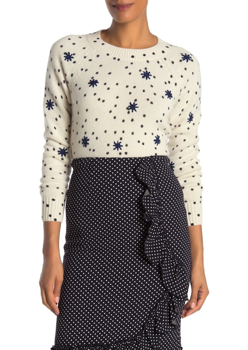 Rebecca Taylor Embroidered Dot Wool Blend Pullover Sweater