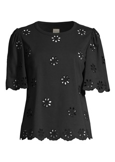 Rebecca Taylor Embroidered Laser Cut T-Shirt
