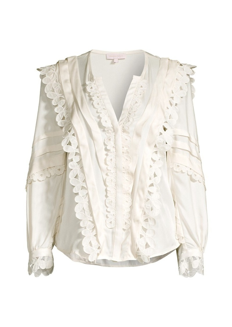 Rebecca Taylor Embroidered Silk-Blend Blouse