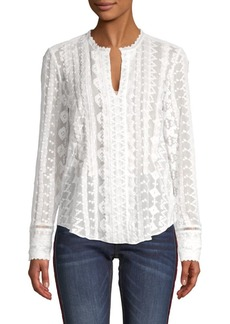 Rebecca Taylor Embroidered Silk-Blend Chiffon Top