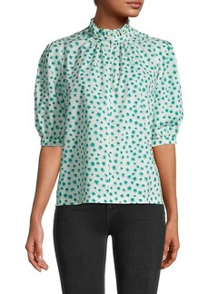 Rebecca Taylor Emerald Daisy Puff-Sleeve Cotton Top
