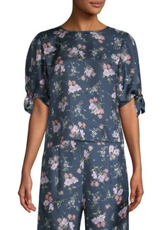 Rebecca Taylor Emilia Floral Short Sleeve Tie Top
