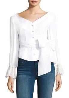 Rebecca Taylor Eyelet Cuff Cotton Bell-Sleeve Poplin Blouse