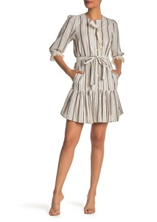 Rebecca Taylor Eyelet Embroidered Stripe Dress