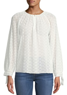 Rebecca Taylor Eyelet-Lace Tie-Cuff Blouse