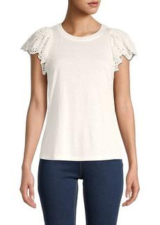 Rebecca Taylor Eyelet Sleeve T-Shirt