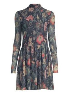 Rebecca Taylor Faded Floral Fit-&-Flare Dress