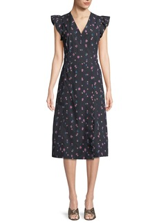 Rebecca Taylor Farren Floral-Print Faux-Wrap Midi Dress