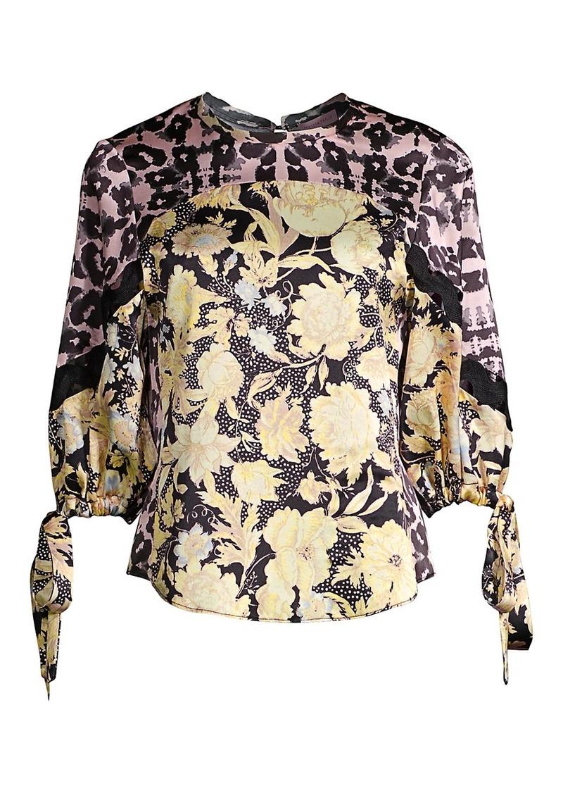 Rebecca Taylor Floral Contrast Silk Tie Blouse
