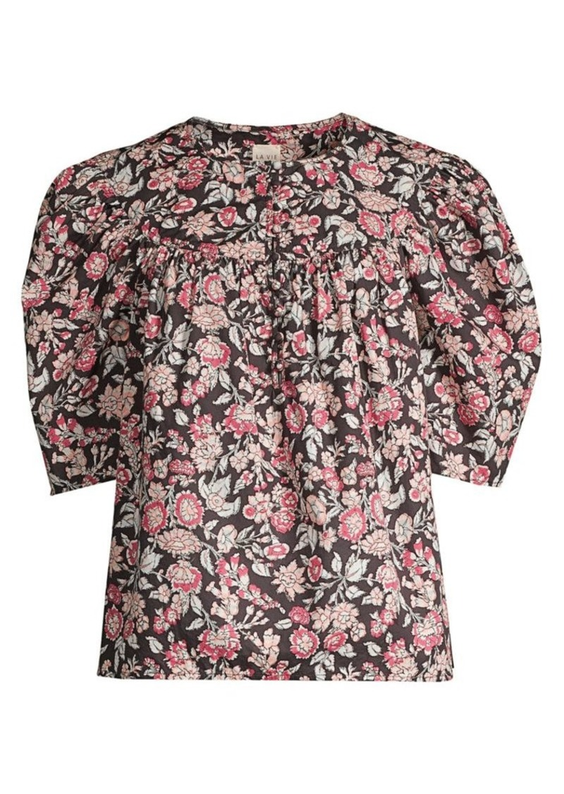 Rebecca Taylor Floral Falaise Puff-Sleeve Top