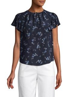Rebecca Taylor Floral Flutter-Sleeve Silk Top