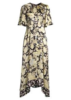 Rebecca Taylor Gold Leaf Floral Silk Midi Dress