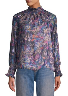 Rebecca Taylor Floral High-Neck Blouse