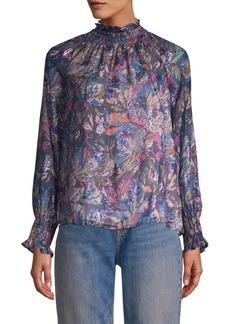 Rebecca Taylor Floral High-Neck Blouse