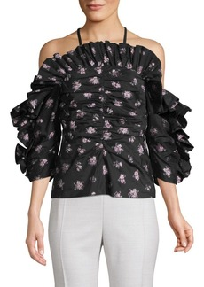 Rebecca Taylor Floral Jacquard Off-The-Shoulder Blouse