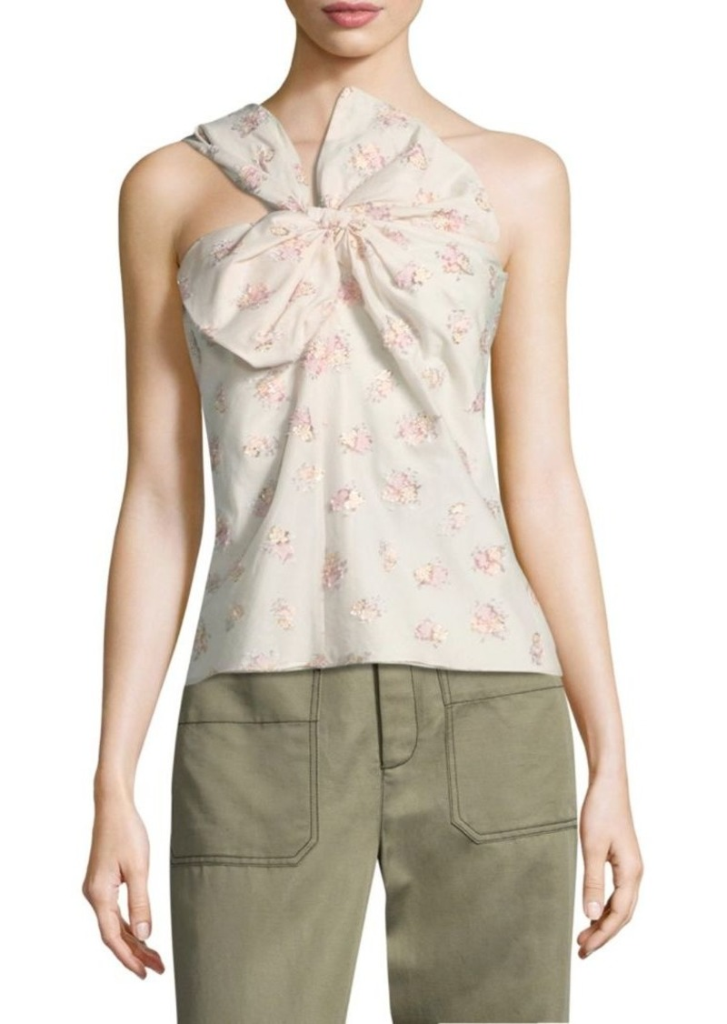 Rebecca Taylor Floral Jacquard One-Shoulder Top