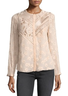 Rebecca Taylor Floral Lace Silk-Blend Top