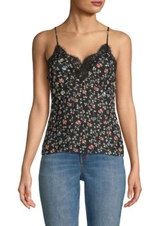 Rebecca Taylor Floral Lace-Trimmed Silk Camisole