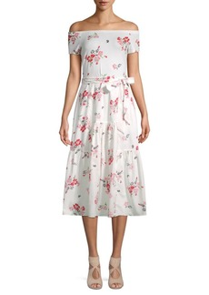 Rebecca Taylor Floral Off-The-Shoulder Dress