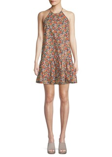 Rebecca Taylor Floral Peplum Hem Halter Cotton Dress