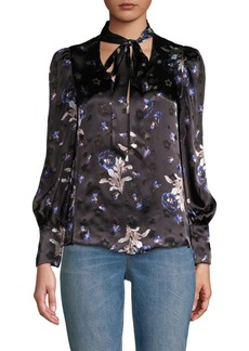 Rebecca Taylor Floral-Print Bow Top