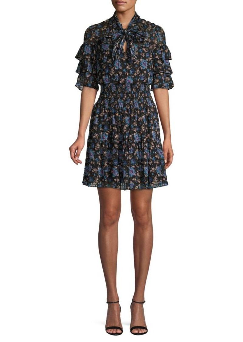 Rebecca Taylor Floral-Print Silk & Cotton-Blend Mini Dress