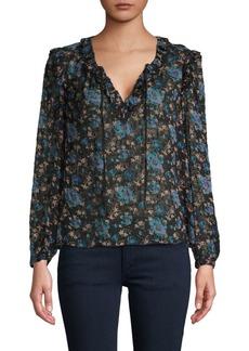 Rebecca Taylor Floral-Print Silk & Cotton-Blend Top