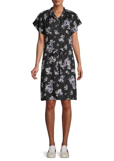Rebecca Taylor Floral-Print Silk Button-Front Dress