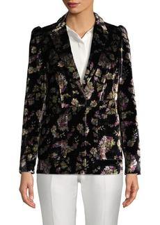Rebecca Taylor Floral-Print Velvet Blazer