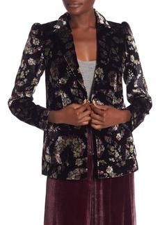 Rebecca Taylor Floral Print Velvet Blazer