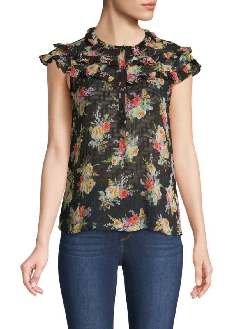 Rebecca Taylor Floral Ruffle Silk & Cotton-Blend Top